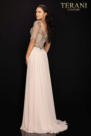 Chiffon skirt Mother of Bride dress with quarter sleeves – 2011M2453