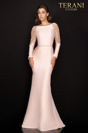 Long sleeve stretch Mikado Mother of Bride gown with sheer beaded shoulder accent –  2011M2457