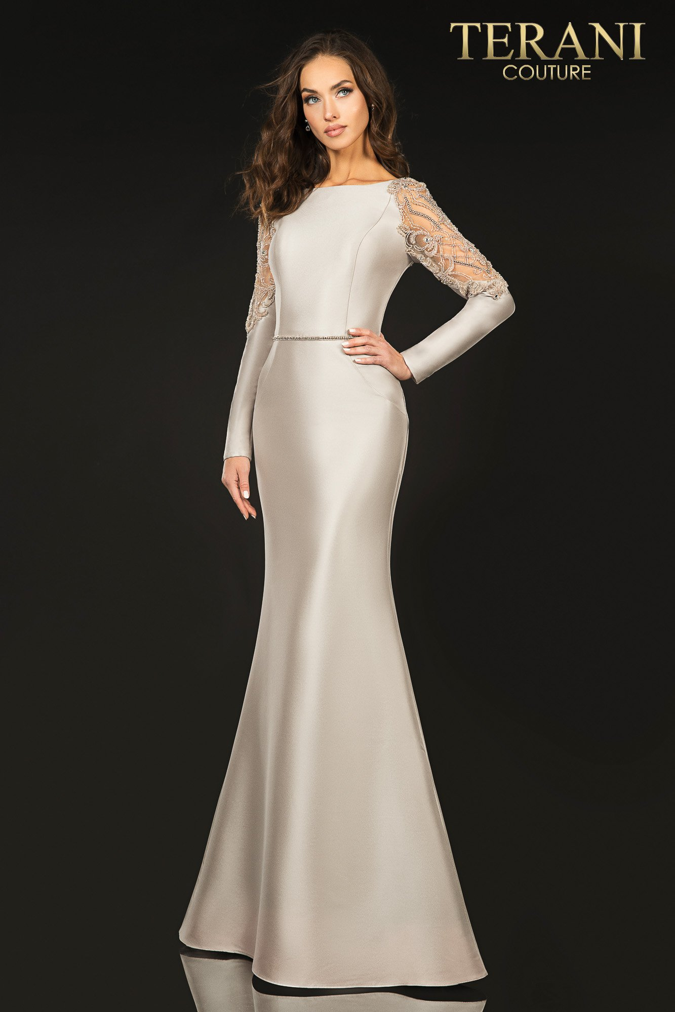 Long sleeve stretch Mikado Mother of Bride gown with sheer beaded shoulder accent - 2011M2457