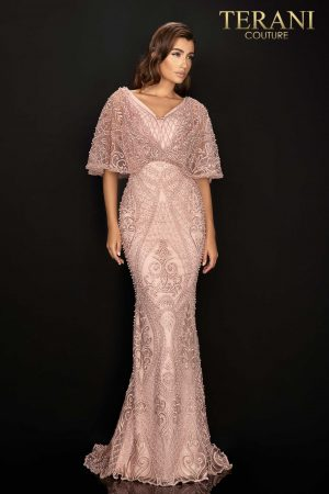Mother of Bride capelet bead and pearl gown – 2011M2466