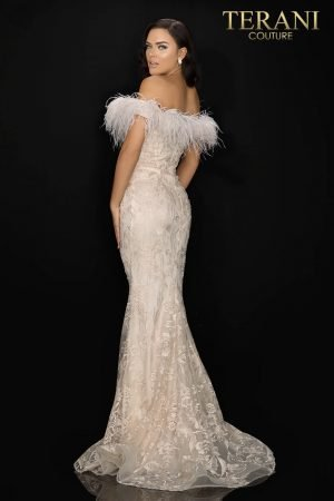 Feather trimmed off shoulder lace Mother of Bride gown – 2011M2546