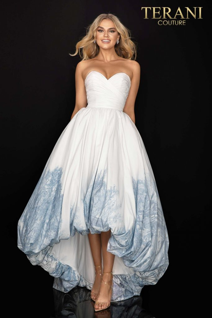 Sweetheart Neckline High Low Bubble Skirt Prom Dress