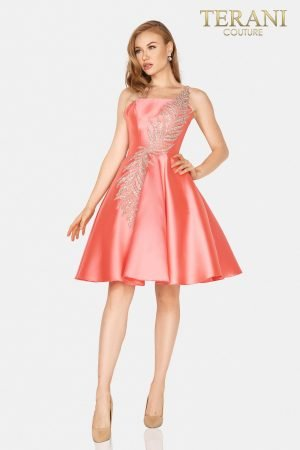 One shoulder satin short prom ball gown – 2011P1021