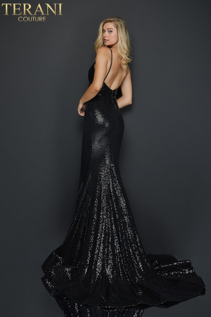 Black Spaghetti strap metallic fitted prom dress – Style number 2011P1032