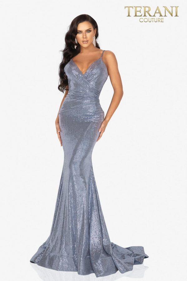 Blue Spaghetti strap metallic fitted prom dress – Style number 2011P1032