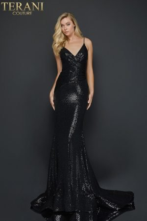 Spaghetti strap metallic fitted prom dress –  2011P1032