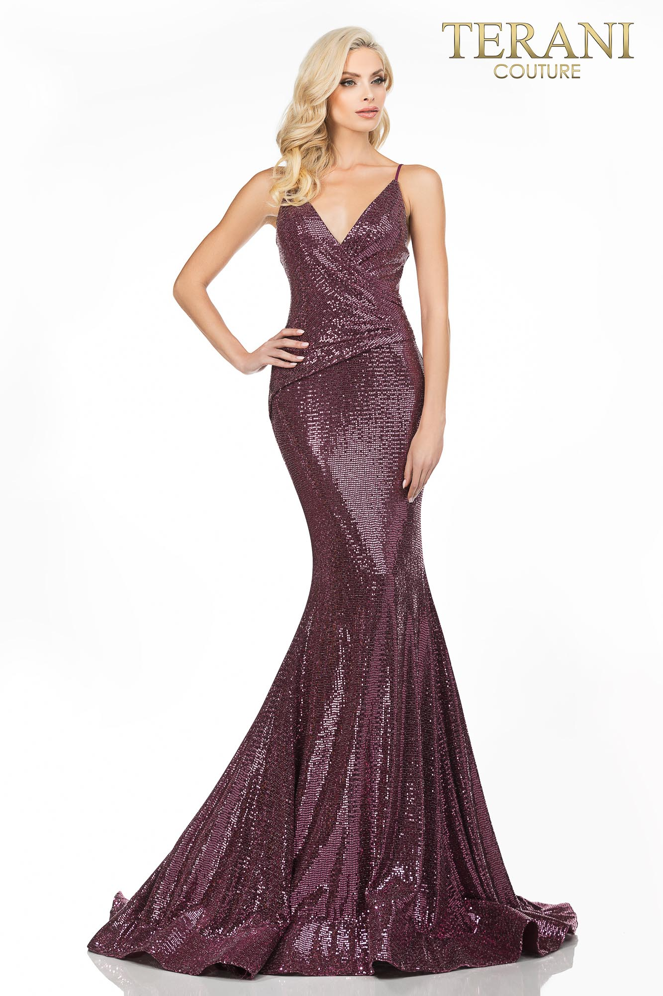 Wine Spaghetti strap metallic fitted prom dress – Style number 2011P1032