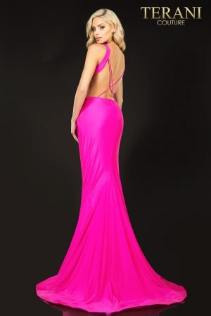 Sleeveless Jersey prom dress with plunged neckline – 2011P1033