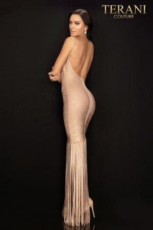 Sexy metallic bandage prom dress with fringe skirt – 2011P1035