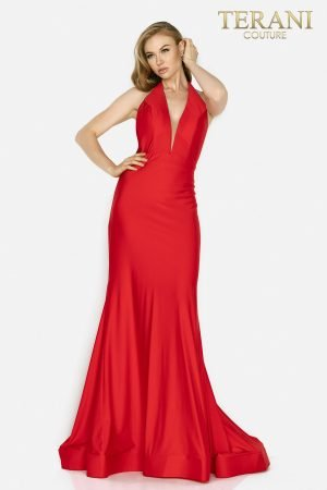 Plunged halter neckline open back prom gown – 2011P1037