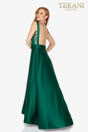 Sabrina cut Satin prom dress with side lacing –  2011P1042