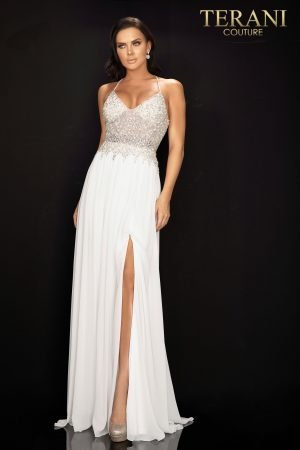 Pearl and crystal prom gown with high slit chiffon skirt – 2011P1051