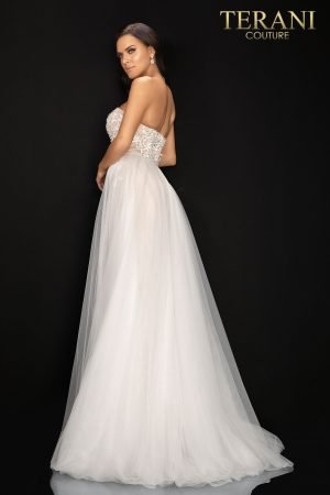Sweetheart neckline beaded prom gown with tulle over-skirt –  2011P1055