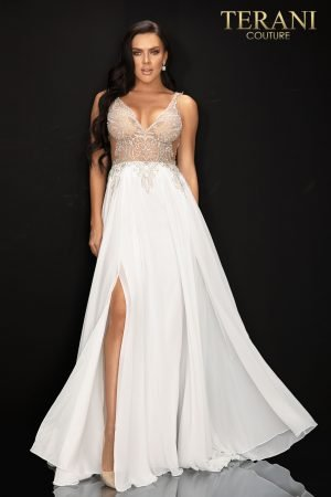 V – neckline beaded flowing chiffon skirt – 2011P1056
