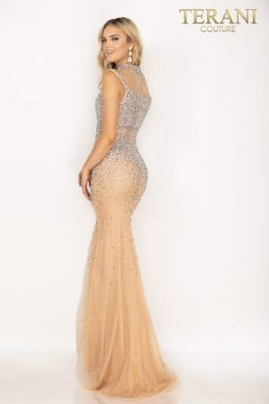 High neck illusion fully beaded prom dress with slit –  2011P1057