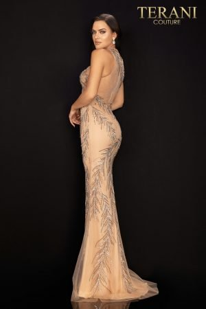 Fully beaded fitted sleeveless prom gown with high slit – 2011P1058