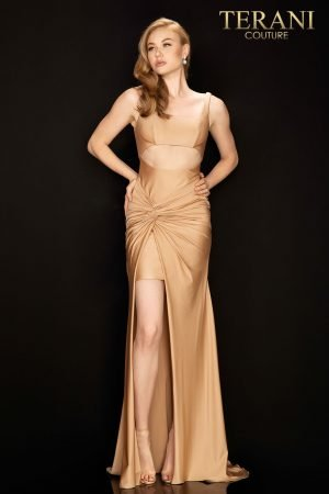 Sexy Cut out midriff prom dress with twist Jersey skirt –  2011P1061