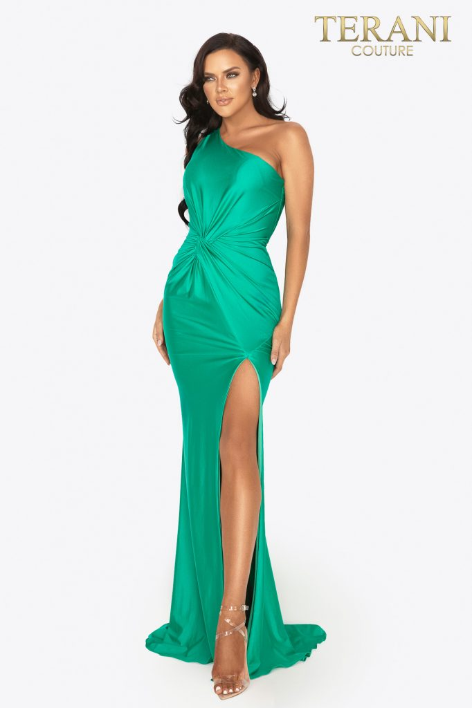 One shoulder high slit prom dress - 2011P1066