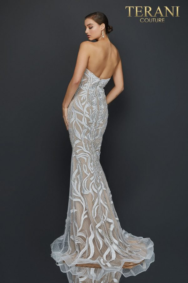 Sexy strapless embroidered prom dress with slit - 2011P1067