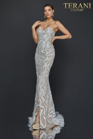 Sexy strapless embroidered prom dress with slit – 2011P1067