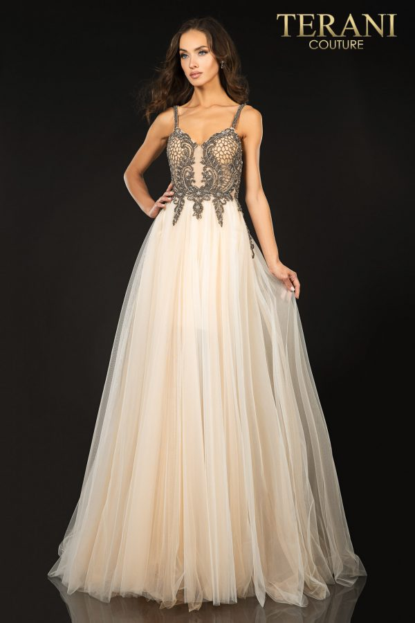 Beaded spaghetti strap tulle prom gown – 2011P1070