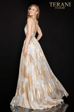Long pleated metallic chiffon prom gown – 2011P1077