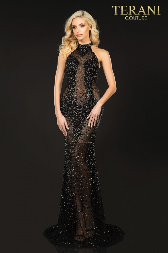Sexy halter neck beaded illusion prom dress – Style number is 2011P1080, color of the dress is Black black