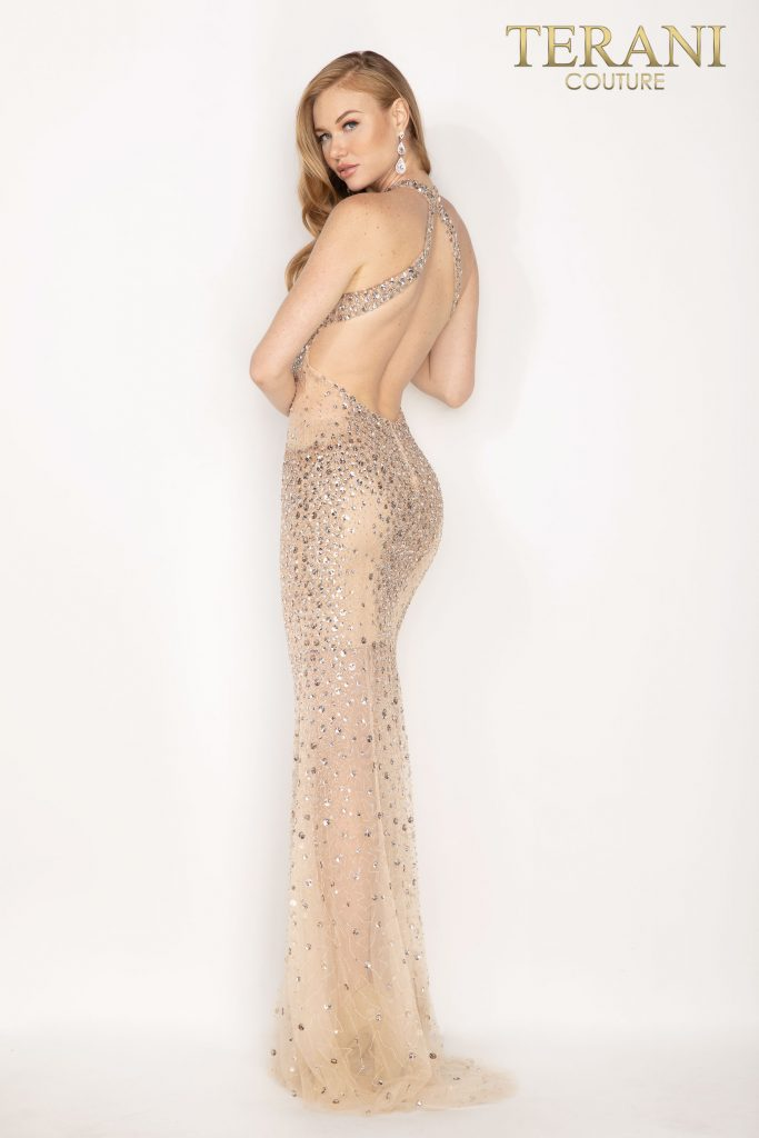 Sexy halter neck beaded illusion prom dress – Style number is 2011P1080, color of the dress is Cream