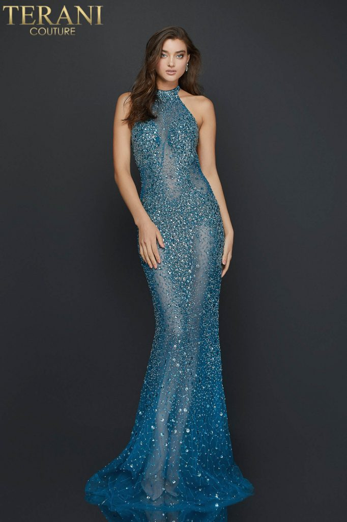 Sexy halter neck beaded illusion prom dress – Style number is 2011P1080, color of the dress is Teal