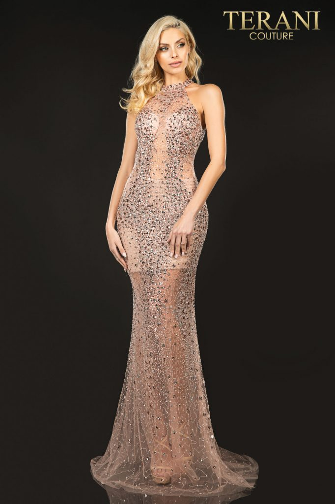 Sexy halter neck beaded illusion prom dress – Style number is 2011P1080, color of the dress is Rose gold
