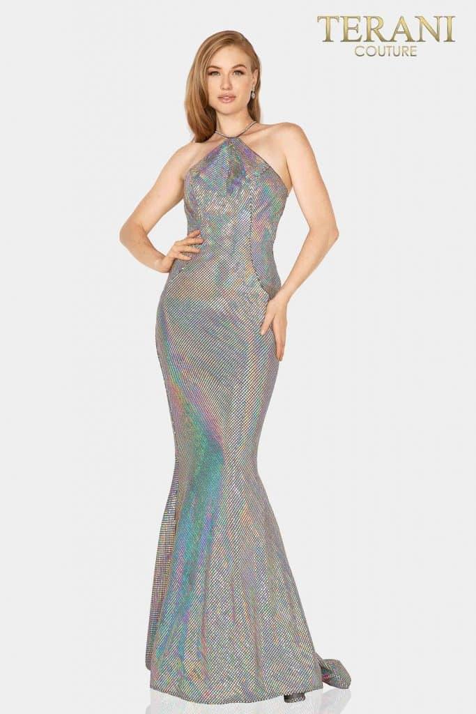 Trendy metallic halter neck prom dress – 2011P1085
