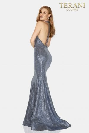 Metallic halter neck prom gown with horse Hair Hem –  2011P1089