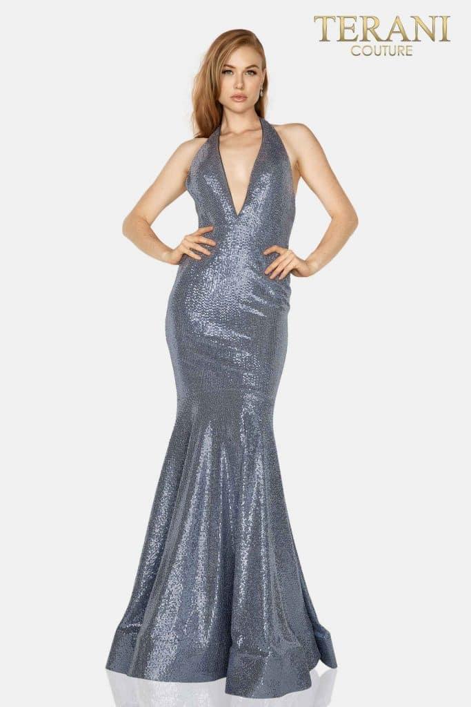 Style: Metallic halter neck prom gown – 2011P1089