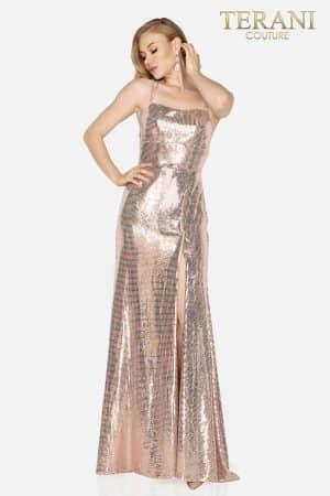 Spaghetti strap metallic open back prom dress –  2011P1090