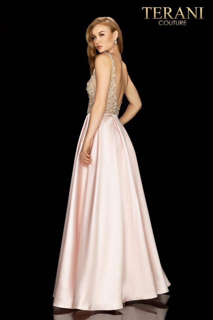 Terani Couture Modern beaded bodice with illusion side details and Satin ball skirt in blush color - Style number is 2011P1094