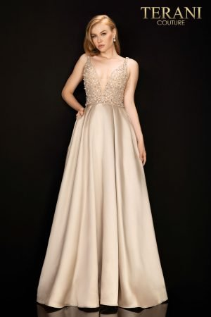 Illusion beaded prom ball gown with Satin skirt –  2011P1094