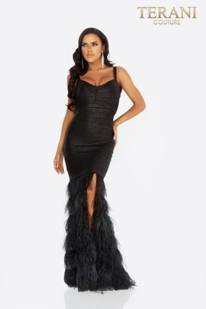 Fitted bandage prom dress with feathers –  2011P1102