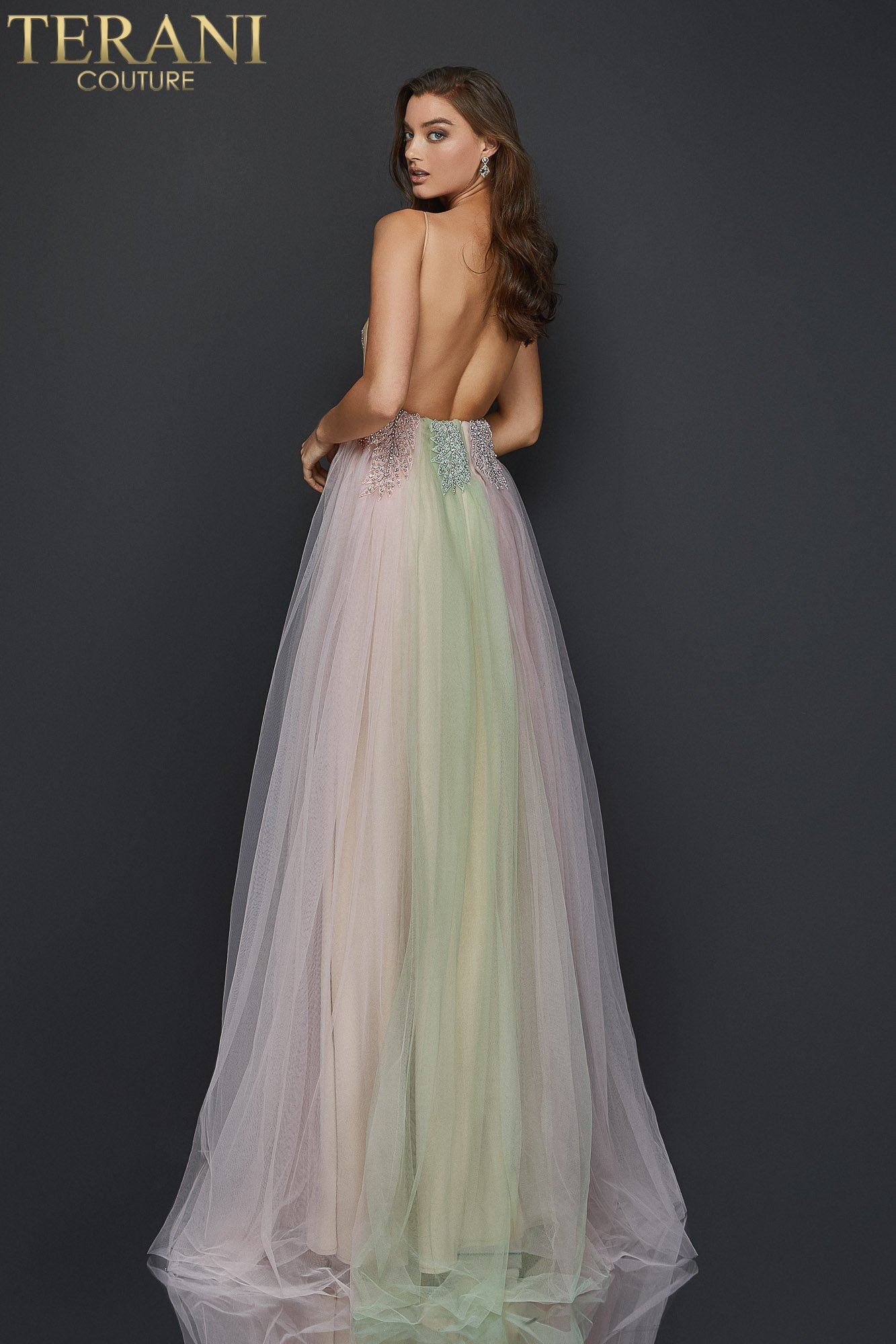 Pearl beaded long prom gown with spaghetti straps - 2011P1107