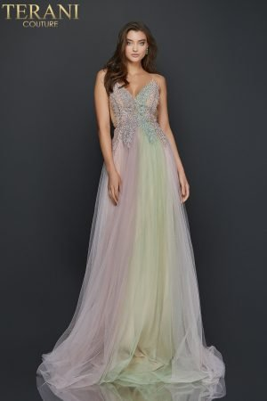 Pearl beaded long prom gown with spaghetti straps –  2011P1107