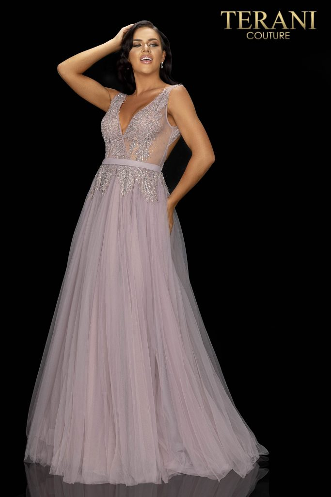 Mink long beaded V-Neckline tulle prom gown –Style number 2011P1109