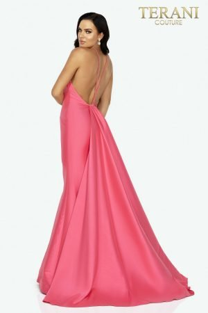 Elegant halter neck Mikado prom gown with train – 2011P1111