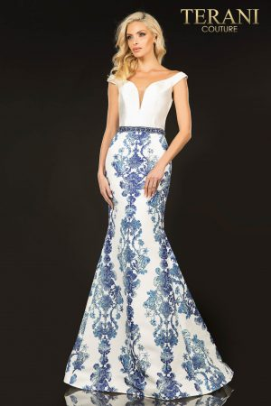 Off shoulder Mikado printed prom gown – 2011P1113