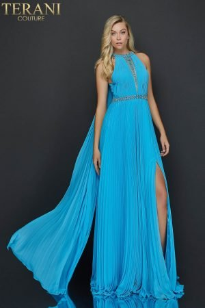 Flowing chiffon halter neck prom dress with high slit – 2011P1115