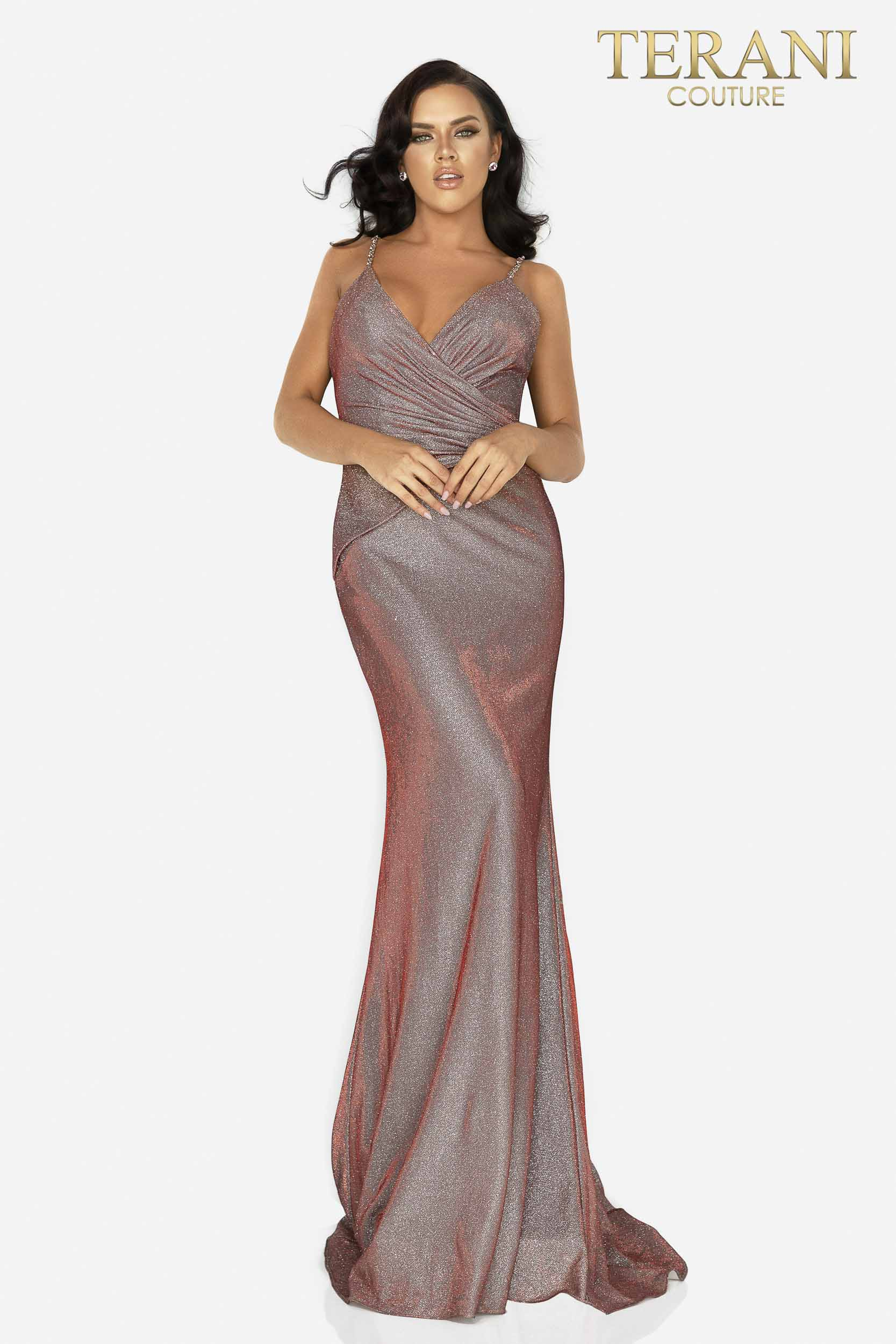 Terani Couture Coral Gold Prom sexy glitter metallic long dress – Style number is 2011P1117