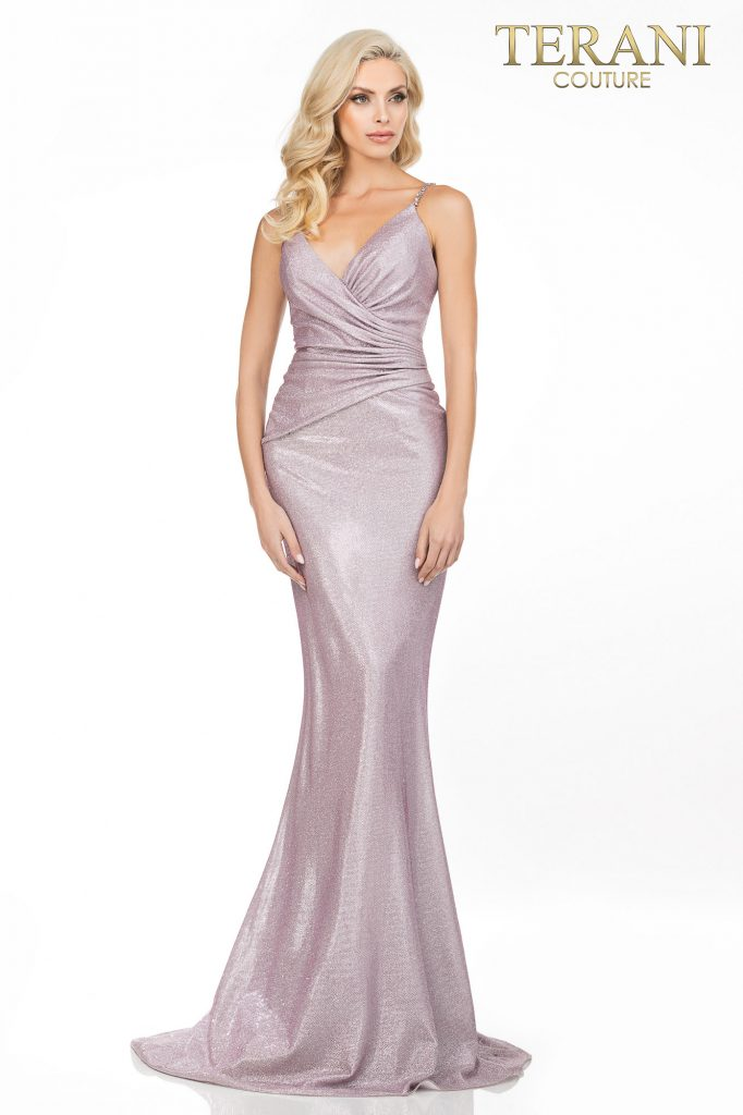 Terani Couture mink Prom sexy glitter metallic long dress – Style number is 2011P1117