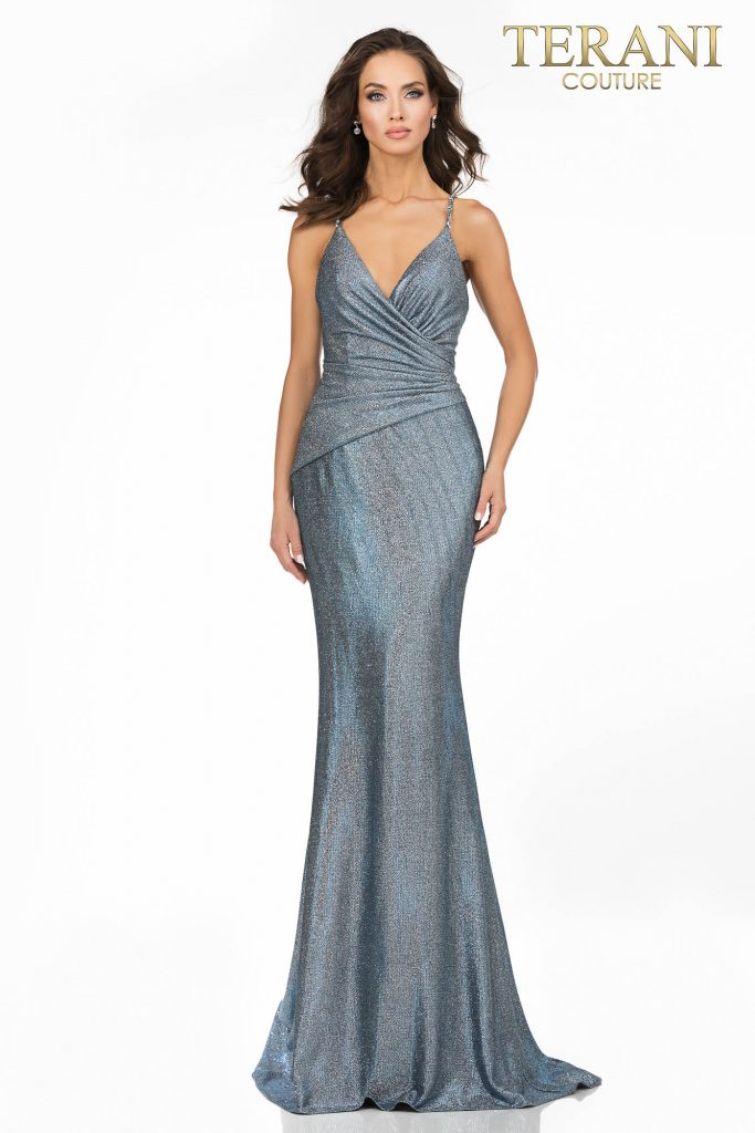 Terani Couture Royal Turquoise Prom sexy glitter metallic long dress – Style number is 2011P1117