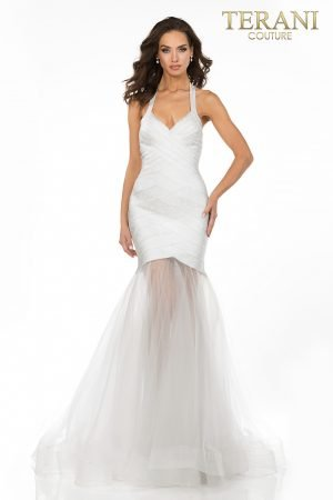 Criss cross fitted bandage dress with halter neckline and sheer mermaid skirt – 2011P1147