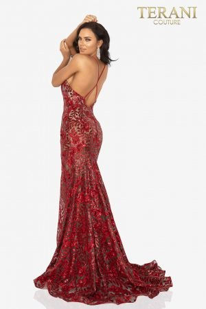Sexy sequined embroidery prom dress with high slit – 2011P1153