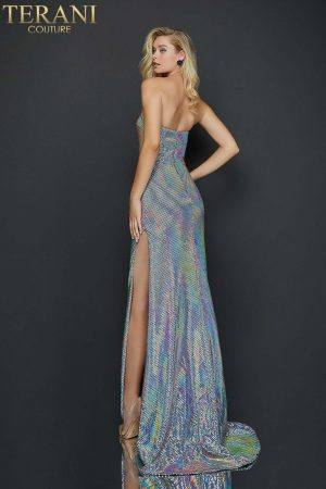Strapless holographic fabric fitted sexy high slit prom gown – 2011P1159