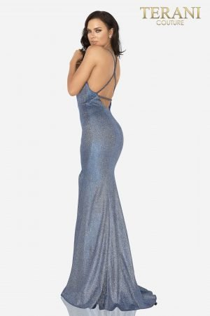 Glitter metallic fitted gown with braided straps – 2011P1163